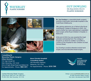 Waverley Plastic Surgery - Initial web presence developed for Mr Guy Dowling, Plastic Surgeon
